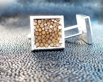 Square cuff links, caramel brown stingray leather