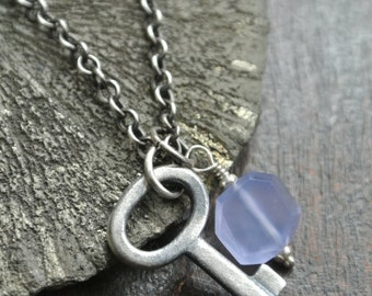 Key to your heart necklace, key charm, blue chalcedony gemstone, silver link necklace, rustic, blue stone, oxidized silver