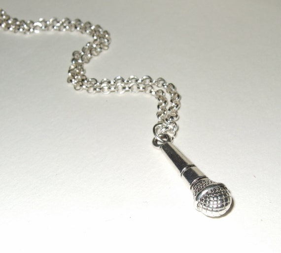 Microphone Necklace, Mic Pendant, Singer Jewelry, Gift for Vocalist, Simple Necklace, Everyday Jewelry, Microphone Charm, Silver Microphone