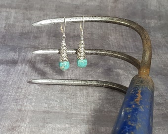 Turquoise Rounds, Sterling Silver Filigree Cones