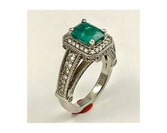 columbian Emerald 1.56 cts set in 14k white gold