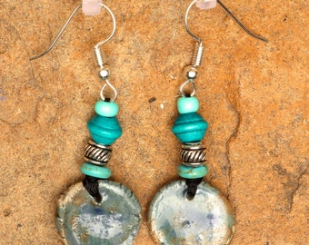 Ceramic earrings with turquoise glaze.  Turquoise, wooden and brass beads.