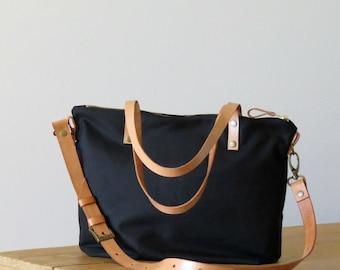 HELEN, Waxed Canvas Tote Bag with crossbody strap. Purse, Canvas and Leather, Black, Medium Zip Tote Bag, Handbag, Shoulder Bag