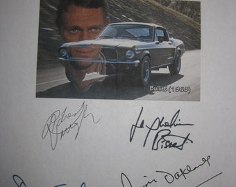 Bullitt Signed Film Movie Screenplay Script Autographs X6 Steve McQueen Robert Vaughn Duvall Jackueline Bisset Don Gordon Simon Oakland