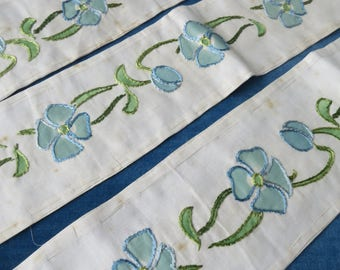 3 Lengths Antique Unused Hand Embroidered & Hand Painted Insertion Trim- 313 x 12 cm