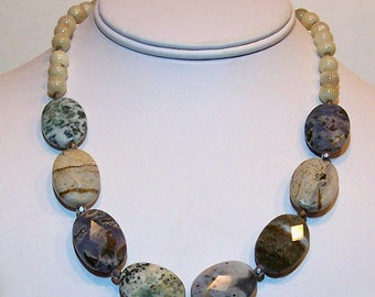 Ocean Jasper Gemstone Faceted Oval Beads with Yellow Jasper Beaded Necklace by Carol Wilson of Je t'Adorn