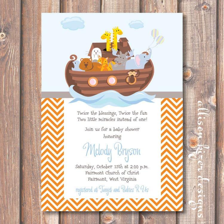 Noahs ark twins baby shower twin boys invite orange zoom stopboris Images