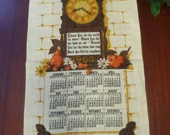 Vintage 1966 Calender Dish Towel With Grandfathers Clock & Thank you God Poem, 1966 Thank You God Calender Wall Hanging  (T)