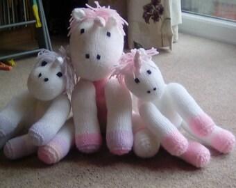 Knitted unicorn plush toy