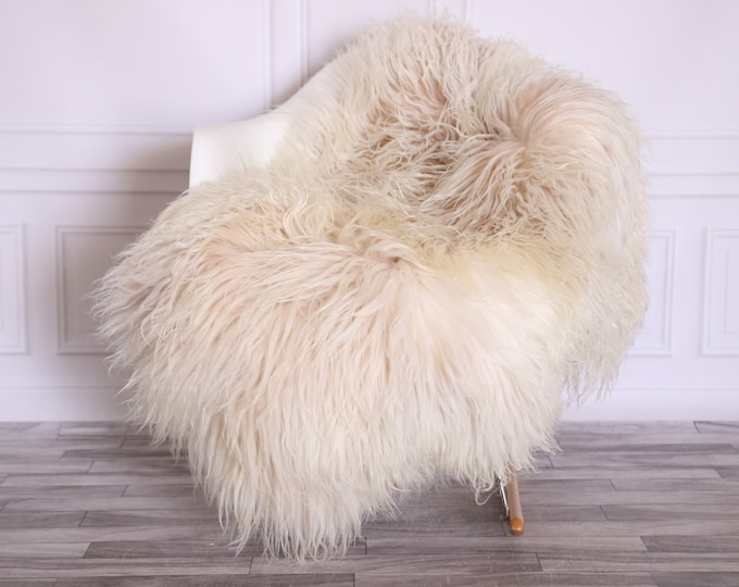 Sheepskin Rug Genuine | Curly Sheepskin Rug | Curly Iceland Sheepskin | Ivory Sheepskin | Sheepskin Throw | Sheepskin Pelt