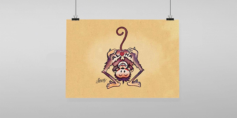 Aloha Monkey Sailor Jerry Vintage Reproduction Wall Art