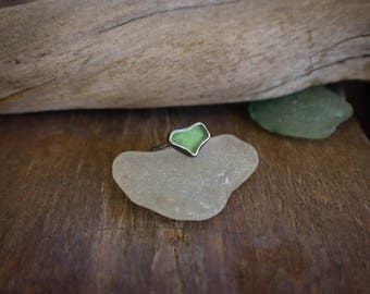 Green Heart Sea Glass Ring, Oxidized Sterling Silver Seaglass Heart Ring, Oxidized Silver Ring