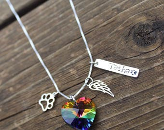 Rainbow Bridge Personalized Pet Loss Necklace - Pet Loss- Pet Loss Gift -  pet memorial - pet loss jewelry - memorial gift - Loss of Pet