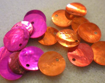 Set of 16 beads sequins Pearl FUSCHIA and ORANGE 12 mm