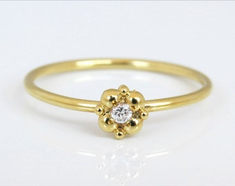 Small diamond ring, delicate engagement ring, 14k gold diamond ring, unique diamond ring, flower diamond ring, diamond stacking ring, gift.