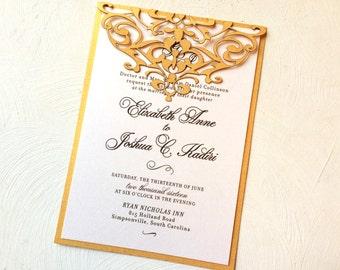 Gold Laser Cut Wedding Invitation, Decorative Scroll Design