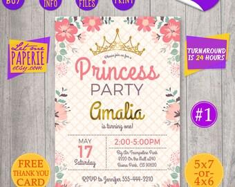 Princess birthday invitation, princess first birthday invite, princess party invite, Pink and gold, flowers invitation, royal celebration