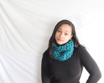 Ready to ship, Crochet cowl,  Textured circle scarf - Ready to ship cowl, Blue scarf