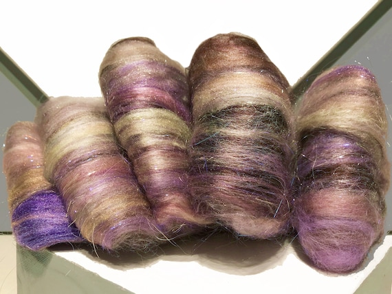 "fiber art batt, felting wool, spinning fiber ""Lavender Myst"" gold tan white violet pink purple copper champagne"