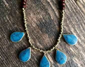 Turquoise Necklace,Tribal Turquoise Necklace,Kuchi Turquoise Necklace,Turquoise Beaded Necklace,Turquoise Layering Necklace,Afghan Turquoise
