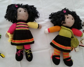 The Licorice sisters - Lilly and Lulu - hand knitted dolls