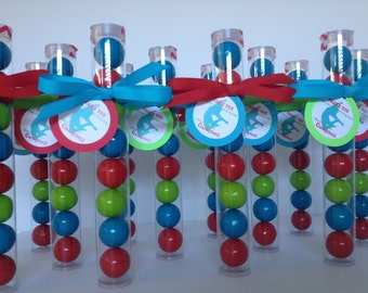 JUMPING Party, Jumping Bounce Party,  Trampoline Party Favor Gumball Tube Party Favors, Set of 12, with Personalized Tags and ribbon