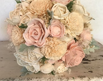 Sola flower bouquet, brides wedding bouquet, blush wedding flowers, eco flower bouquet, alternative keepsake bridal bouquet, champagne