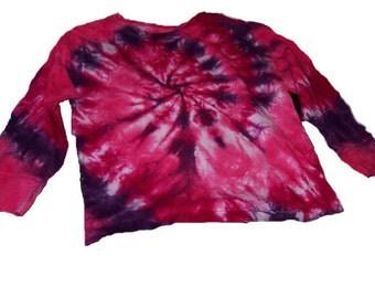 Tie Dyed Fuchsia, Hot Pink and Deep Purple  Spiral, Long Sleeve, Toddler/Youth T Shirt
