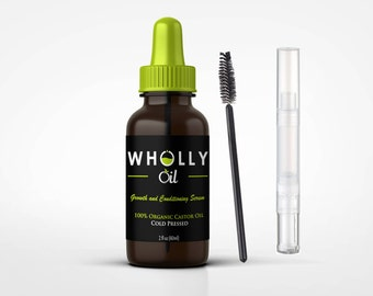 Eyelash & Eyebrow Growth Stimulator and Conditioning Kit - Organic Castor Oil Serum