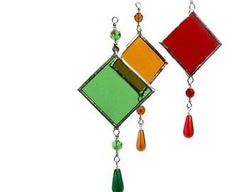Stained Glass Suncatcher Light Catcher Green Amber Red