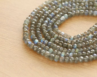 30 pcs of AAA Labradorite 4-5mm faceted rondelles