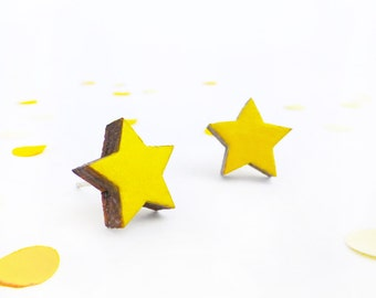 Yellow earrings | Star stud earrings | Small studs | Yellow jewellery | Wood anniversary gift | Star jewelry | Gifts under 10 | Gift for her
