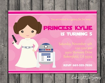 Starwars Princess Leia Birthday Invitation, Star Wars Birthday Invite Digital Download