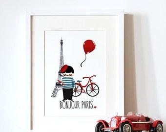 decorative art print for kids - Paris Illustration - Eiffel Tower art print - Paris art print - french illustration -Travel- Paris