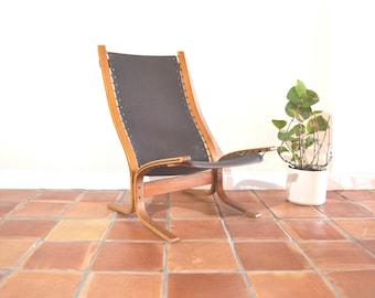 Danish Teak Lounge Westnofa Canvas Chair