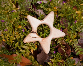 Little Star maple teether by BANDY with handmade beeswax and jojoba oil finish, salvaged wood.