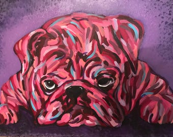 Abstract bulldog, warm tones