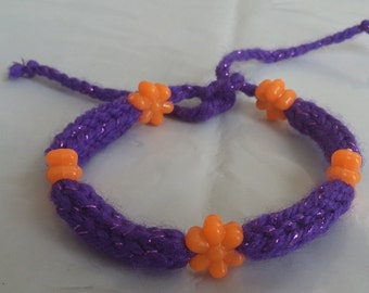 Purple Handmade Knitted Bracelet With Orange Flower Beads