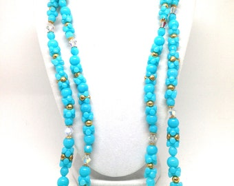 Gorgeous Vintage Double Strand Turquoise Lucite Molded Bead Gold Tone Necklace