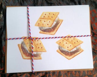 S'mores note cards, campfire s'mores, bonfire invitation, s'more love, s'mores invitation, s'mores kit, s'mores dessert, marshmallow invite