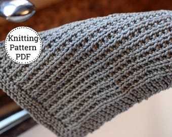 Knit Dishcloth Pattern, Dishcloth Pattern, Knitting Pattern, Dishtowel Pattern, Off the Grid