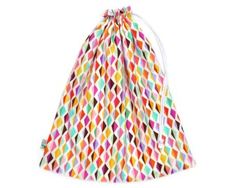 Waterproof Wet Bag / Swim Bag for the Beach or Pool. Gift for Teen Girl. Swimsuit Bag for Teen Girls. Rainbow Coloured Diamonds Wet Dry Bag.