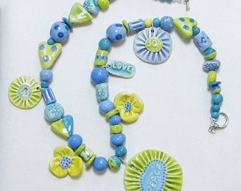 Peace Flower Necklace Handmade Clay Beads