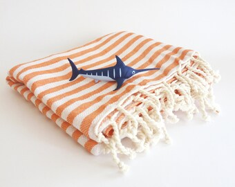 Turkish Towel, Peshtemal, beach towel, bath, yoga, wedding party, orange , Mother's day gift