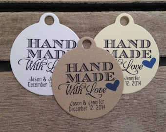 Wedding Gift Tags - Hand Made With love - Wedding Favor Tags - Customizable Personalized (WT1434)