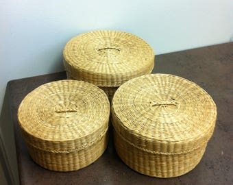 Vintage Baskets - Sweet Grass Wooven Containers - Stackable Baskets - Storage Bins