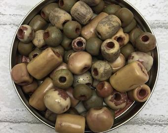 Beige Ceramic Beads Mix of 24, handmade from Haiti, ethically made