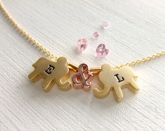 Gold Elephants Necklace, Rose Gold Ampersand, Personalized Gift - Gift for Her - Girlfriend Gift