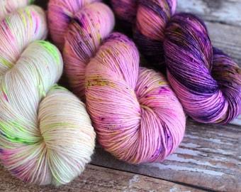 Three Skein Shawl Kit #3 - Single Ply - Hand Dyed Yarn