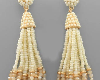 Ivory Glass & Seed Bead Tassel Earrings